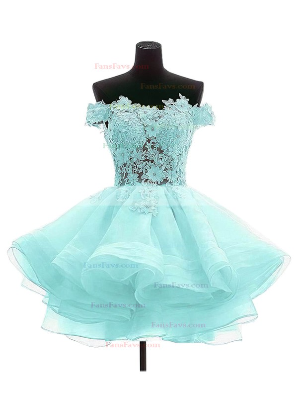 Princess Off-the-shoulder Organza Tulle Short/Mini Appliques Lace Cute Prom Dresses #Favs020102801