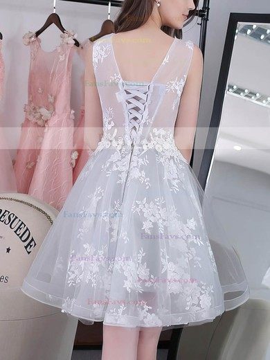 A-line Scoop Neck Knee-length Tulle Prom Dresses with Appliques Lace #Favs020102858