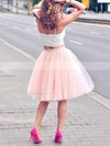 A-line Sweetheart Knee-length Tulle Prom Dresses with Ruffle #Favs020102755