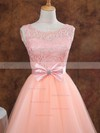 Ball Gown Scoop Neck Short/Mini Lace Tulle Prom Dresses with Bow Sashes #Favs02017611