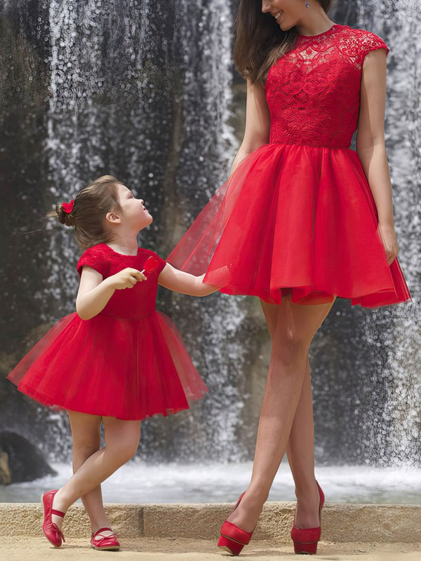 A-line Scoop Neck Short/Mini Tulle Prom Dresses with Lace Ruffle #Favs02018746