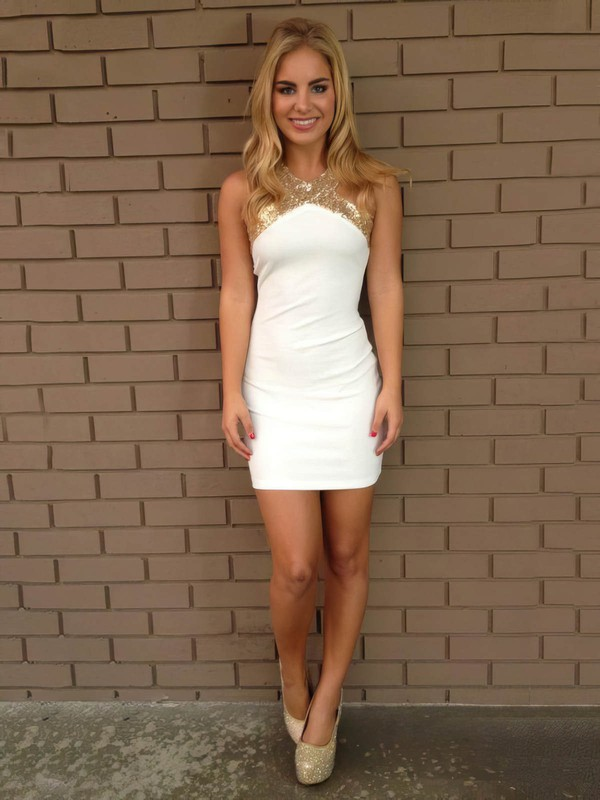 Sheath/Column Scoop Neck Short/Mini Silk-like Satin Prom Dresses with Sequins #Favs02018863