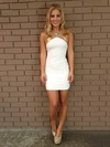 White Sheath/Column Silk-like Satin Sexy Scoop Neck Sequins Backless Prom Dress #Favs02018863