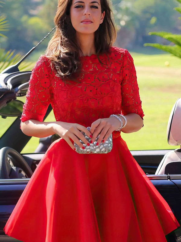 Scoop Neck Best Short/Mini Red Lace Chiffon 1/2 Sleeve Homecoming Dresses #Favs02051719
