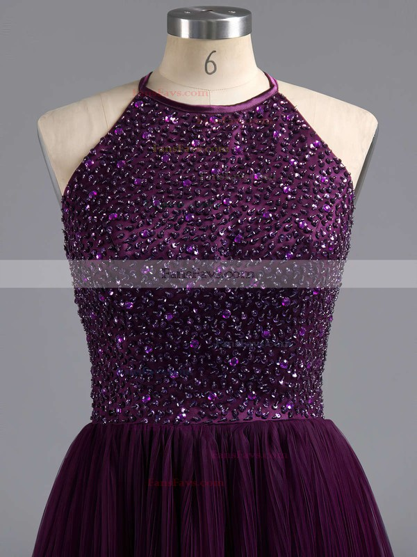 A-line Scoop Neck Short/Mini Tulle Prom Dresses with Beading #Favs02019702