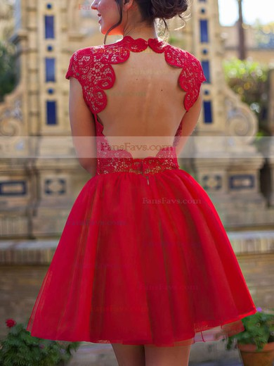 Casual Red Lace Tulle Scoop Neck Short/Mini Cap Straps Prom Dress #Favs02019873