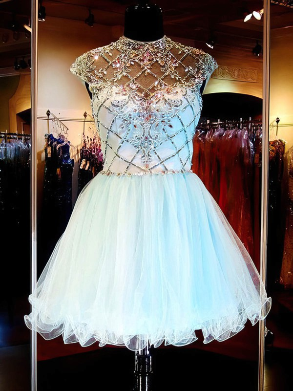 A-line Scoop Neck Short/Mini Tulle Prom Dresses with Beading #Favs020101145