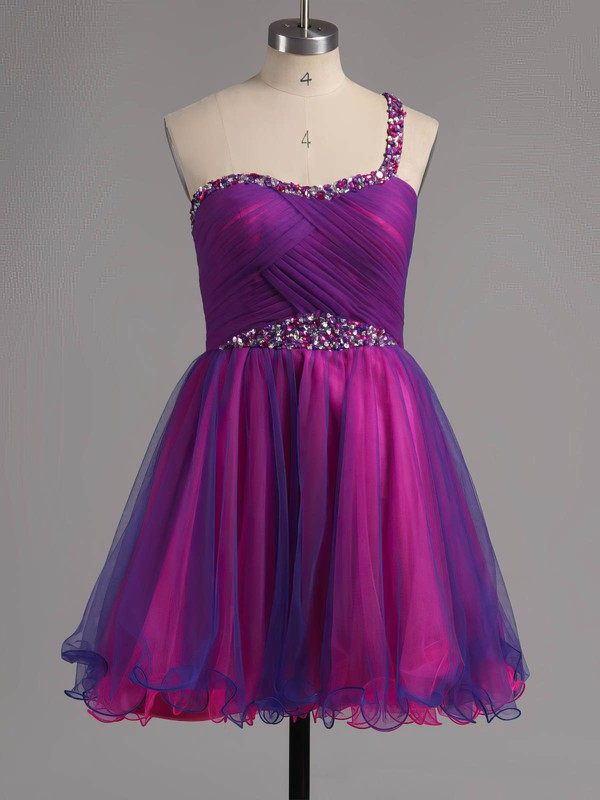 A-line One Shoulder Tulle Short/Mini Ruffles Homecoming Dresses #Favs02013221