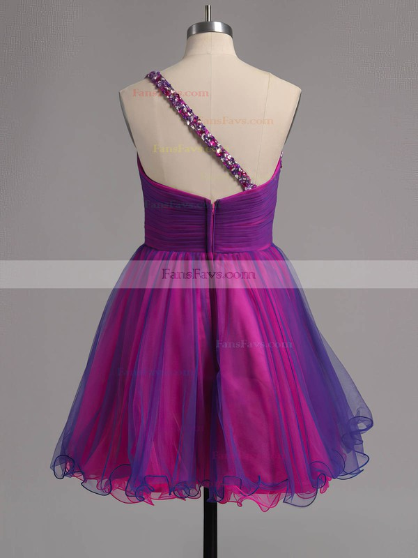 A-line One Shoulder Short/Mini Tulle Prom Dresses with Ruffle #Favs02013221
