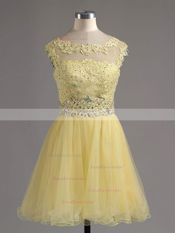 A-line Scoop Neck Tulle Short/Mini Beading Homecoming Dresses #Favs02042343