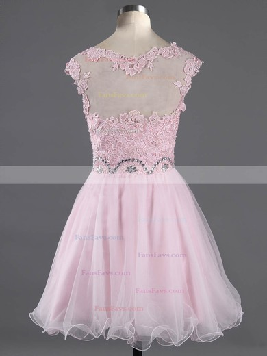 A-line Scoop Neck Short/Mini Tulle Prom Dresses with Appliques Lace Beading #Favs02042343