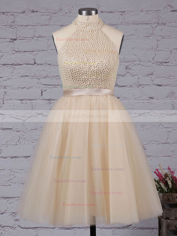 A-line High Neck Tulle Short/Mini Sashes / Ribbons Homecoming Dresses #Favs020102515