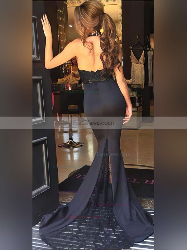 Trumpet/Mermaid Halter Sweep Train Silk-like Satin Prom Dresses with Appliques Lace #Favs020104514