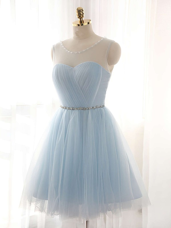 A-line Scoop Neck Short/Mini Tulle Prom Dresses with Beading #Favs020102518