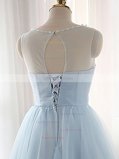 A-line Scoop Neck Tulle Short/Mini Beading Prom Dresses #Favs020102518