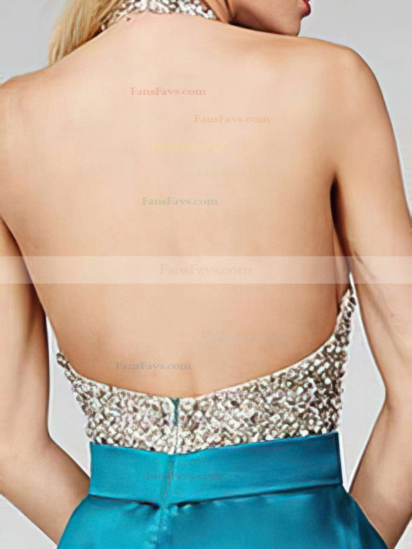 A-line Halter Short/Mini Satin Prom Dresses with Beading #Favs020102519