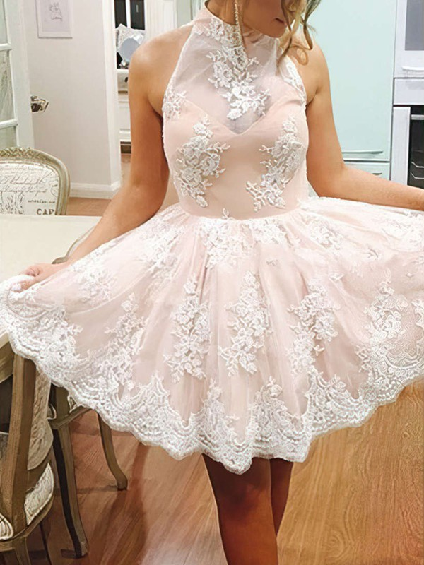 A-line High Neck Short/Mini Lace Prom Dresses with Flowers #Favs020102525