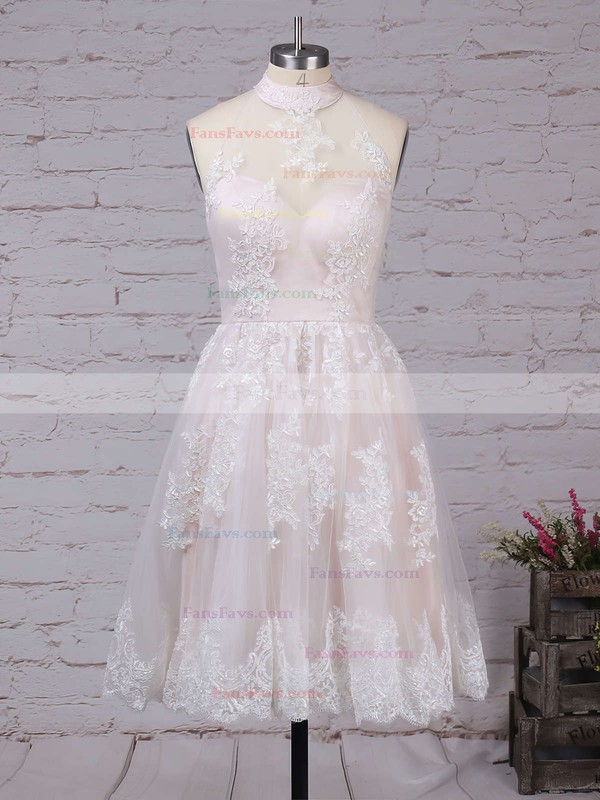 A-line High Neck Tulle Short/Mini Appliques Lace Prom Dresses #Favs020102525