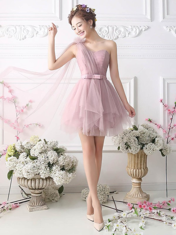 Princess One Shoulder Tulle Short/Mini Sashes / Ribbons Fashion Homecoming Dresses #Favs020102533
