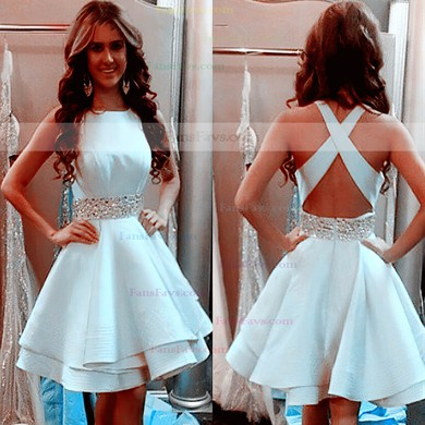A-line Scoop Neck Short/Mini Silk-like Satin Prom Dresses with Beading #Favs020102536
