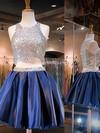 A-line Scoop Neck Satin Short/Mini Beading Homecoming Dresses #Favs020102543