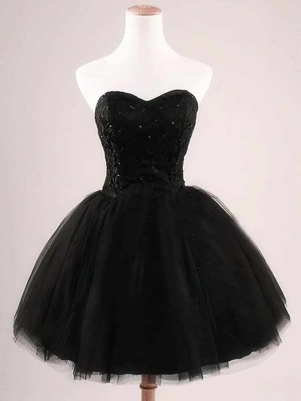 Ball Gown Sweetheart Short/Mini Tulle Prom Dresses with Appliques Lace Sequins #Favs020102554
