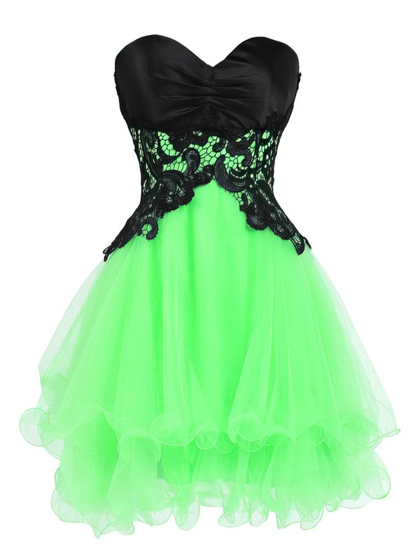 Princess Sweetheart Short/Mini Organza Prom Dresses with Appliques Lace #Favs020102562