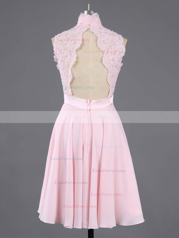 Pretty A-line High Neck Chiffon Short/Mini Appliques Lace Pink Homecoming Dresses #Favs020100684
