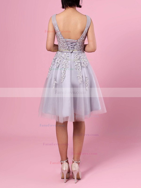 A-line V-neck Knee-length Tulle Prom Dresses with Appliques Lace Sashes #Favs020102505