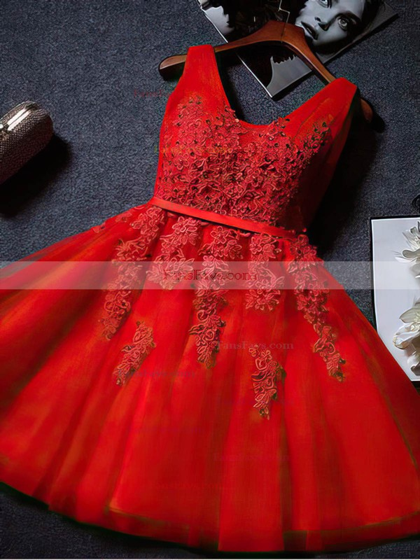 A-line V-neck Tulle Knee-length Appliques Lace Popular Prom Dresses #Favs020102505