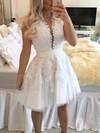 A-line Scoop Neck Tulle Short/Mini Appliques Lace White Classy Prom Dresses #Favs020102569