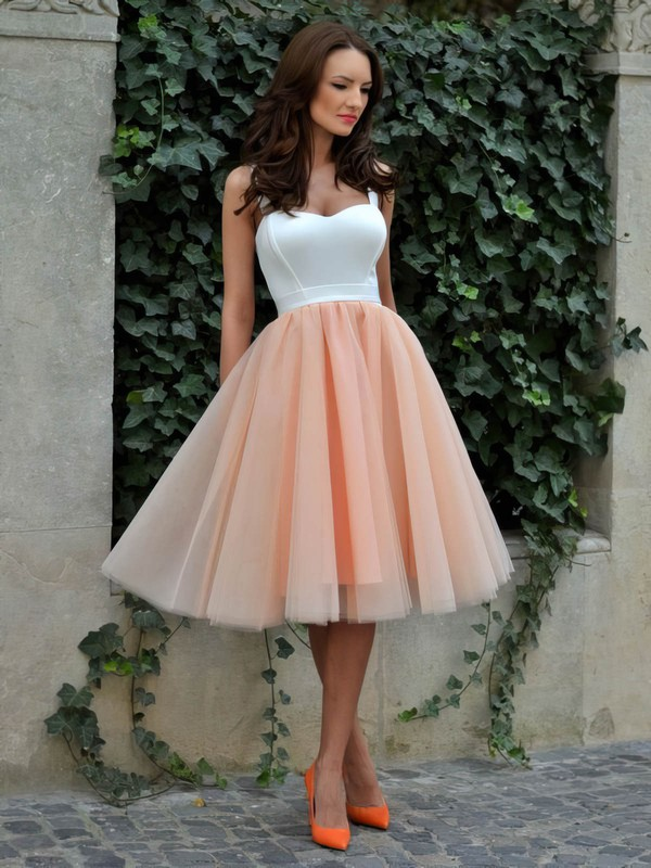 Classic A-line Sweetheart Tulle Tea-length Ruffles Prom Dresses #Favs020102578