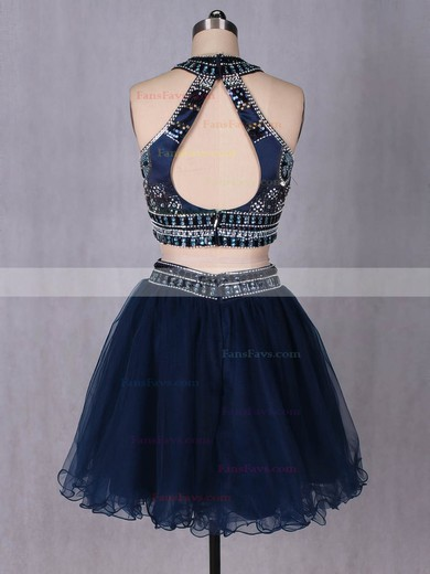 A-line Scoop Neck Short/Mini Tulle Prom Dresses with Beading #Favs020102580
