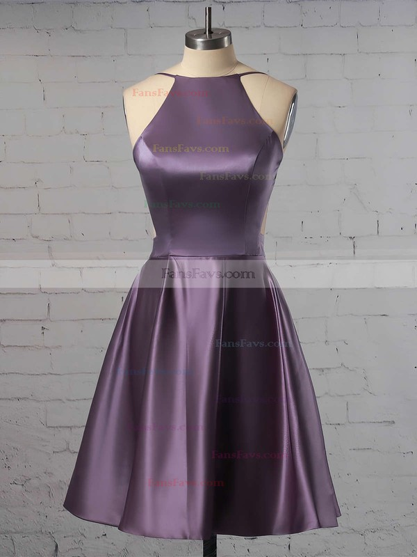 A-line Scoop Neck Short/Mini Satin Prom Dresses with Ruffle #Favs020102594