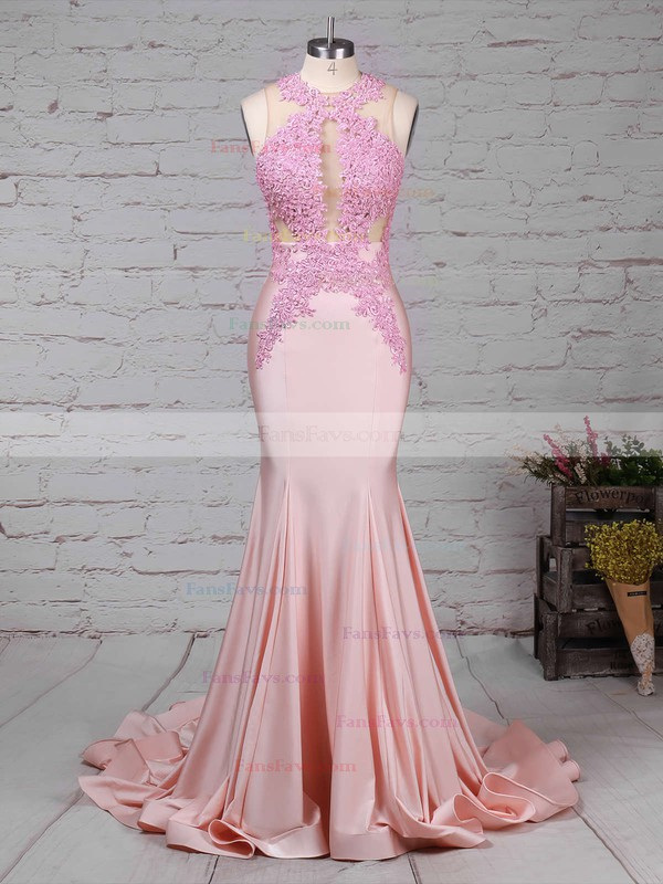 Trumpet/Mermaid Scoop Neck Sweep Train Silk-like Satin Prom Dresses with Appliques Lace #Favs020104520