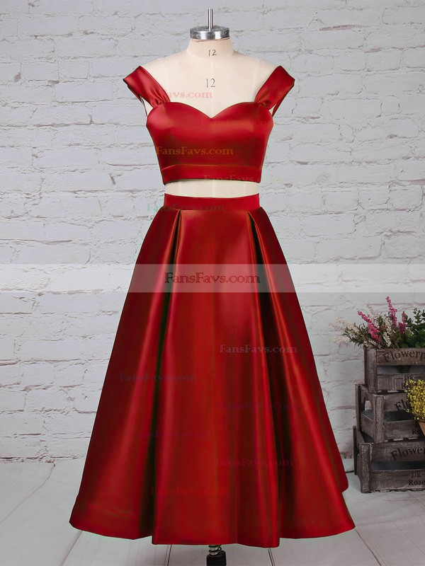 A-line Off-the-shoulder Satin Tea-length Pockets Prom Dresses #Favs020102596