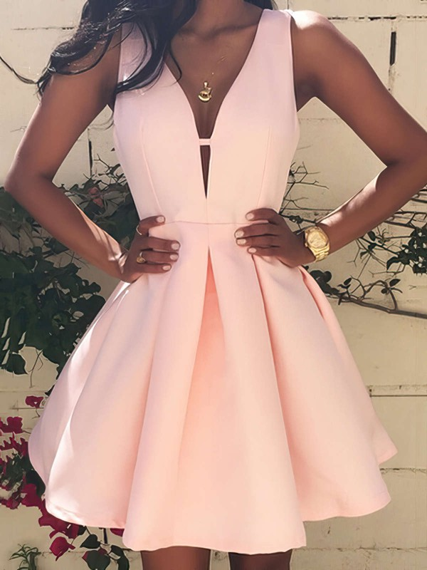 A-line V-neck Satin Short/Mini Prom Dresses #Favs020103512