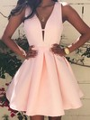 A-line V-neck Short/Mini Satin Prom Dresses with Ruffle #Favs020103512