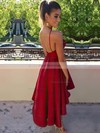 A-line Scoop Neck Asymmetrical Satin Prom Dresses with Ruffle #Favs020103694