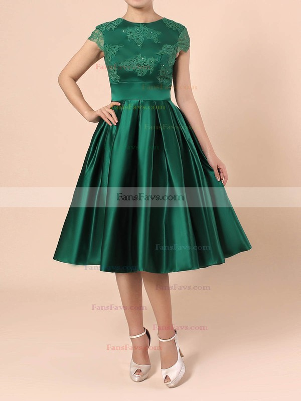 A-line Scoop Neck Knee-length Satin Tulle Prom Dresses with Appliques Lace #Favs020103716