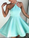 A-line Halter Satin Short/Mini Ruffles Backless Casual Prom Dresses #Favs020103769