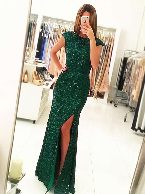 Sheath/Column Scoop Neck Sequined Floor-length Split Front Prom Dresses #Favs020102920