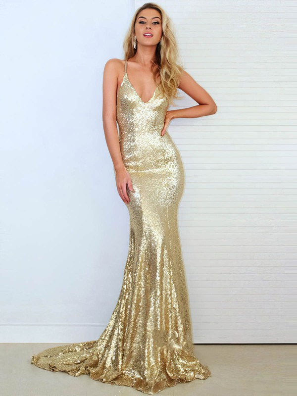 Trumpet/Mermaid V-neck Sweep Train Sequined Prom Dresses with Ruffle #Favs020103494