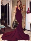 Trumpet/Mermaid V-neck Sweep Train Jersey Prom Dresses with Ruffle #Favs020104522
