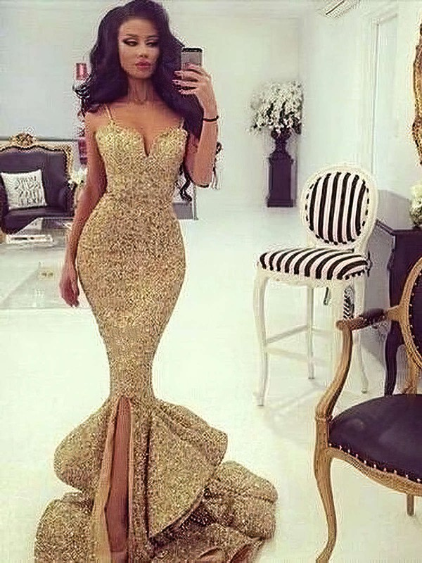 Trumpet/Mermaid V-neck Sweep Train Sequined Prom Dresses with Split Front #Favs020103699