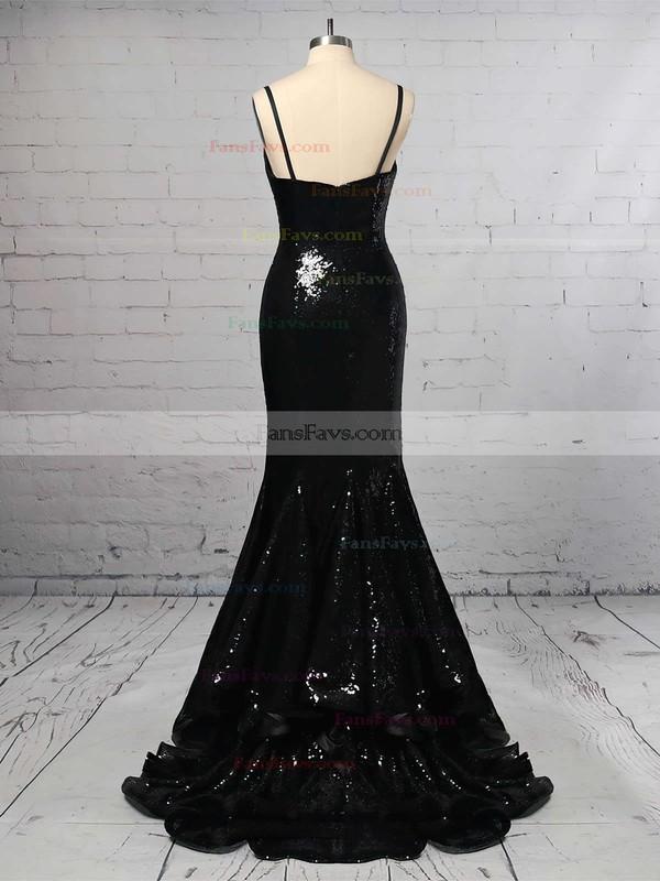 Trumpet/Mermaid V-neck Sequined Sweep Train Split Front Prom Dresses #Favs020103699