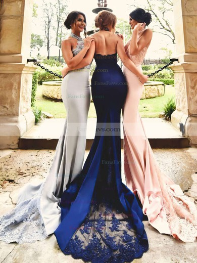 Trumpet/Mermaid Halter Jersey Court Train Appliques Lace Prom Dresses #Favs020103600