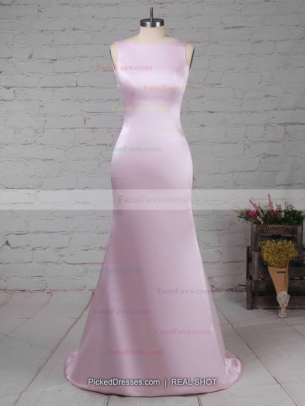 Sheath/Column Scoop Neck Silk-like Satin Sweep Train Prom Dresses #Favs020104408
