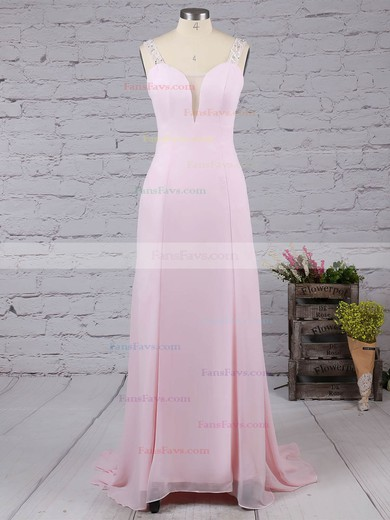 A-line V-neck Chiffon Tulle Sweep Train Beading Prom Dresses #Favs02016058