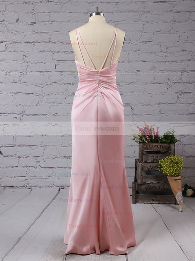 Trumpet/Mermaid V-neck Silk-like Satin Floor-length Split Front Prom Dresses #Favs020104553